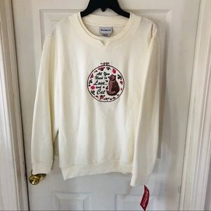 NWT all you need is love & a cat crewneck sweater